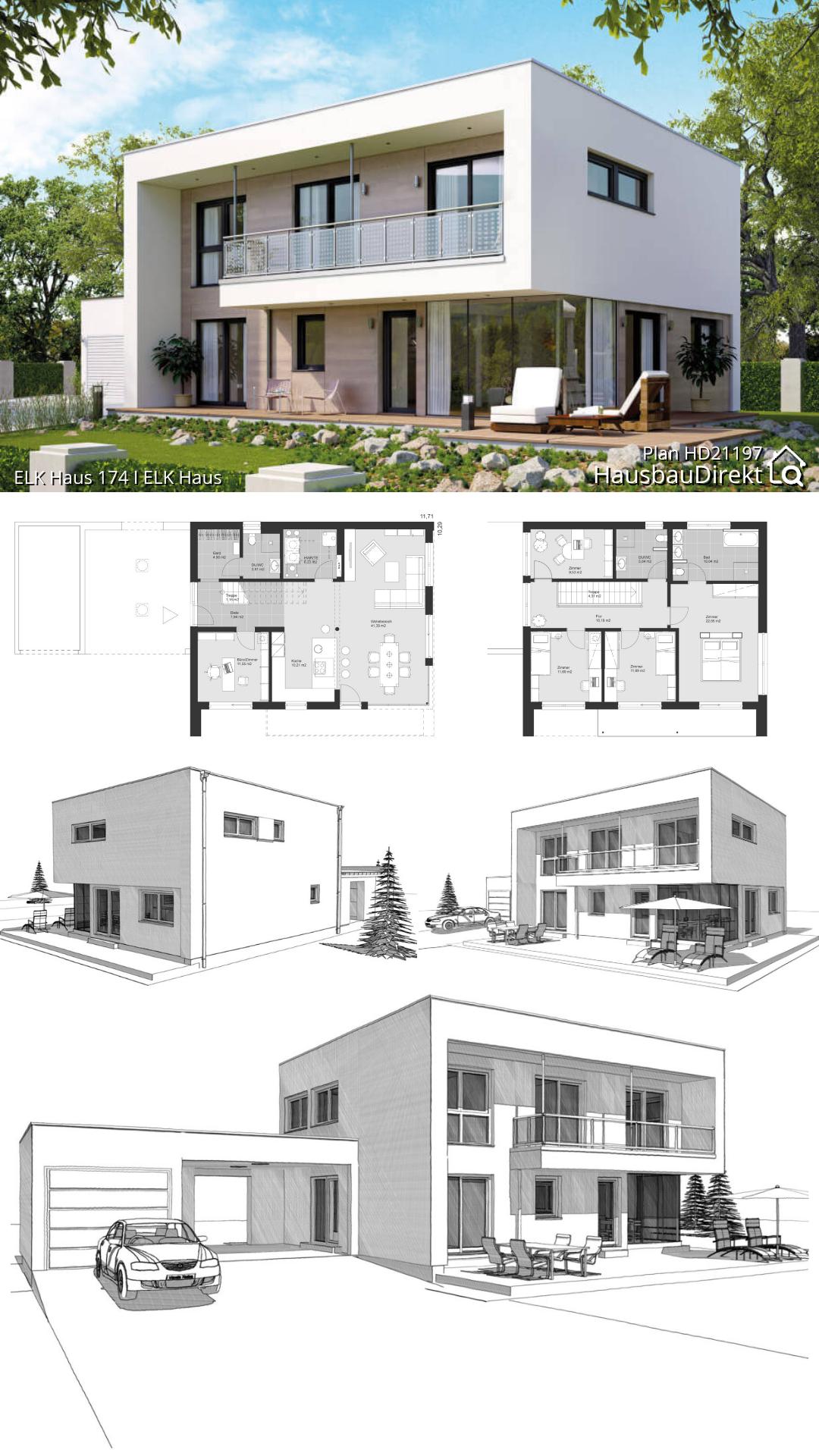 Modernes Haus Design mit Flachdach Architektur bauen Einfamilienhaus Grundriss Ideen Fertighaus