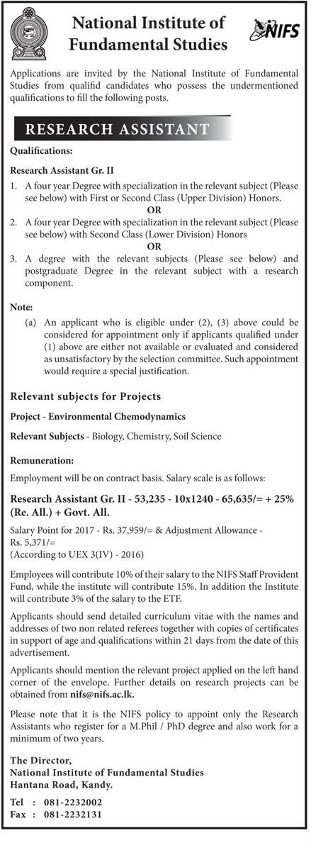 Sri Lankan Government Job Vacancies At National Institute Of