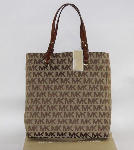 6d0e4fcc4fad NWT MICHAEL KORS Large Tall Khaki Jacquard MK Monogram JET SET Tote Shopper  #MichaelKors #TotesShoppers