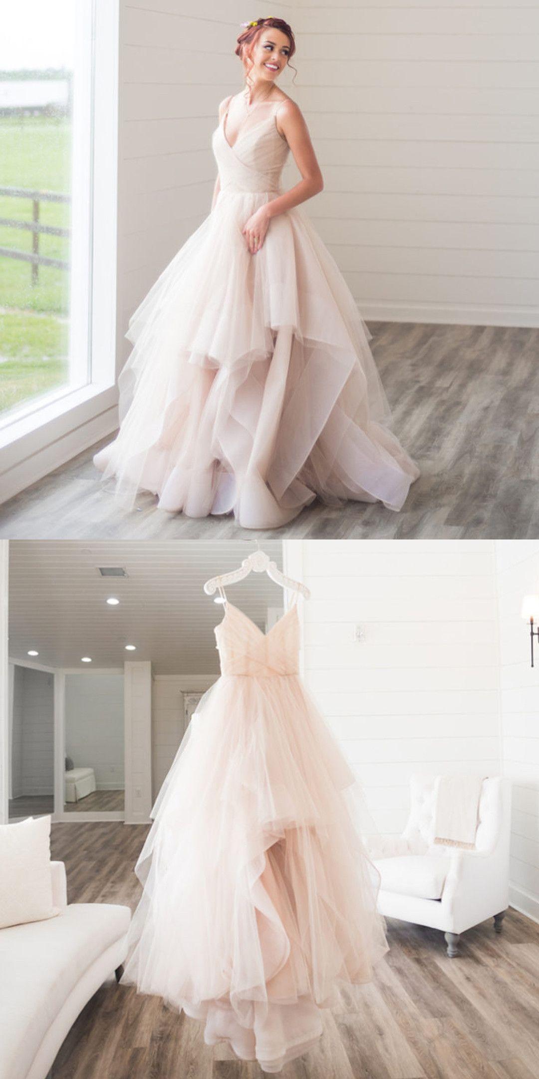 Bridal Gown Pink Long Wedding Dress Strapless Pink Long Wedding