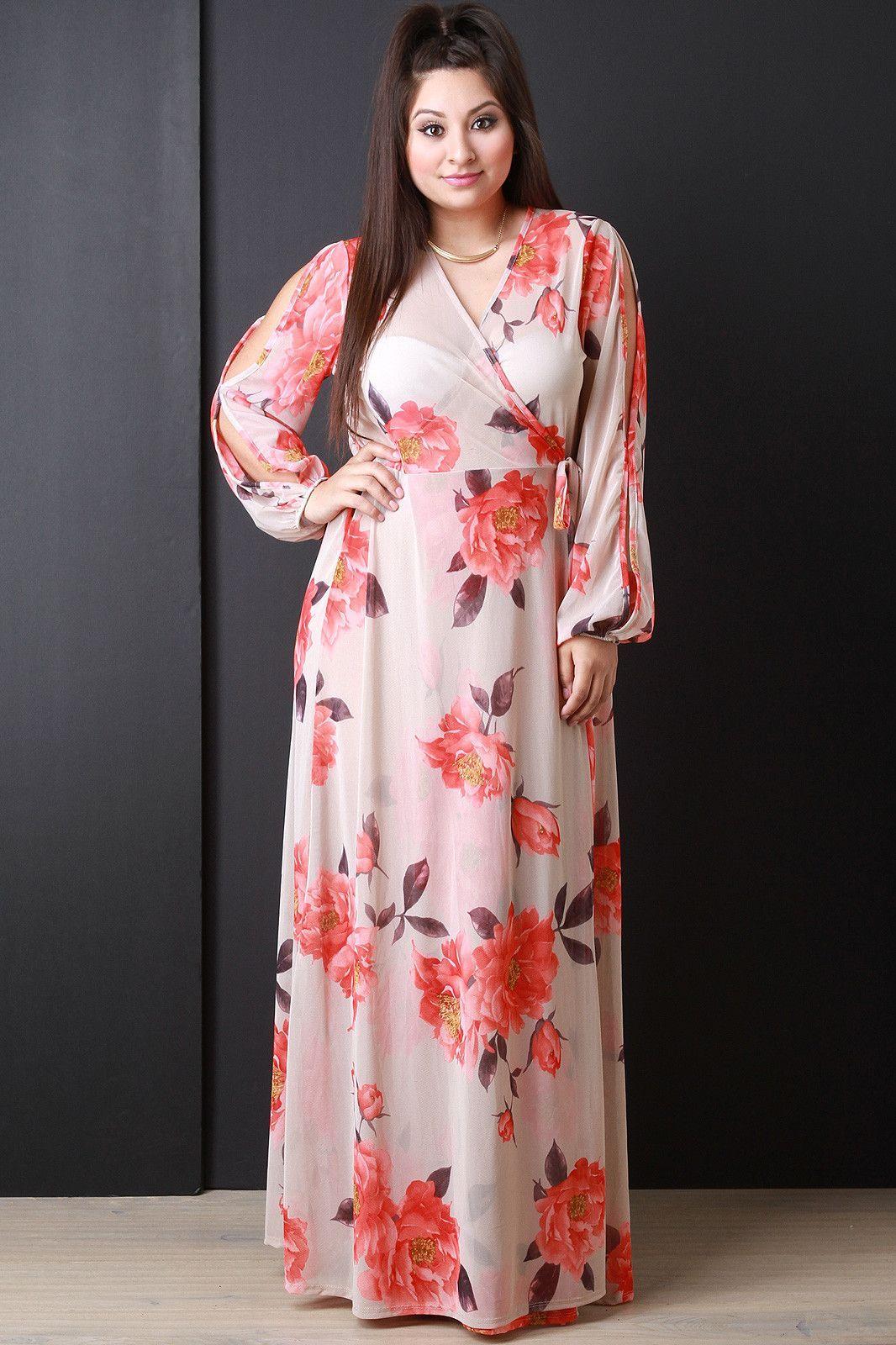 Semi-Sheer Floral Wrap Maxi Dress | Peinados, Vestiditos y Estilo
