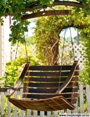 Swing Chair Made From Wine Barrel Staves