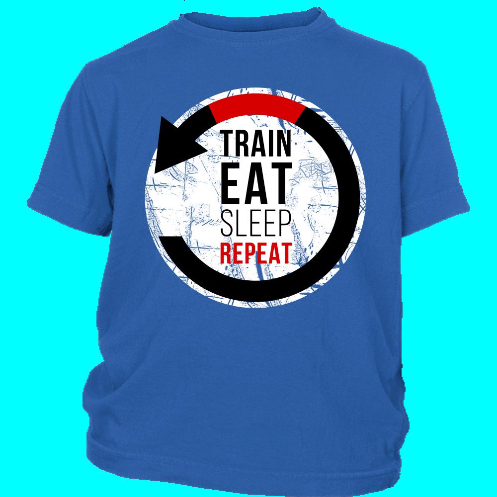 Train, Eat, Sleep, Repeat Kids T-shirt