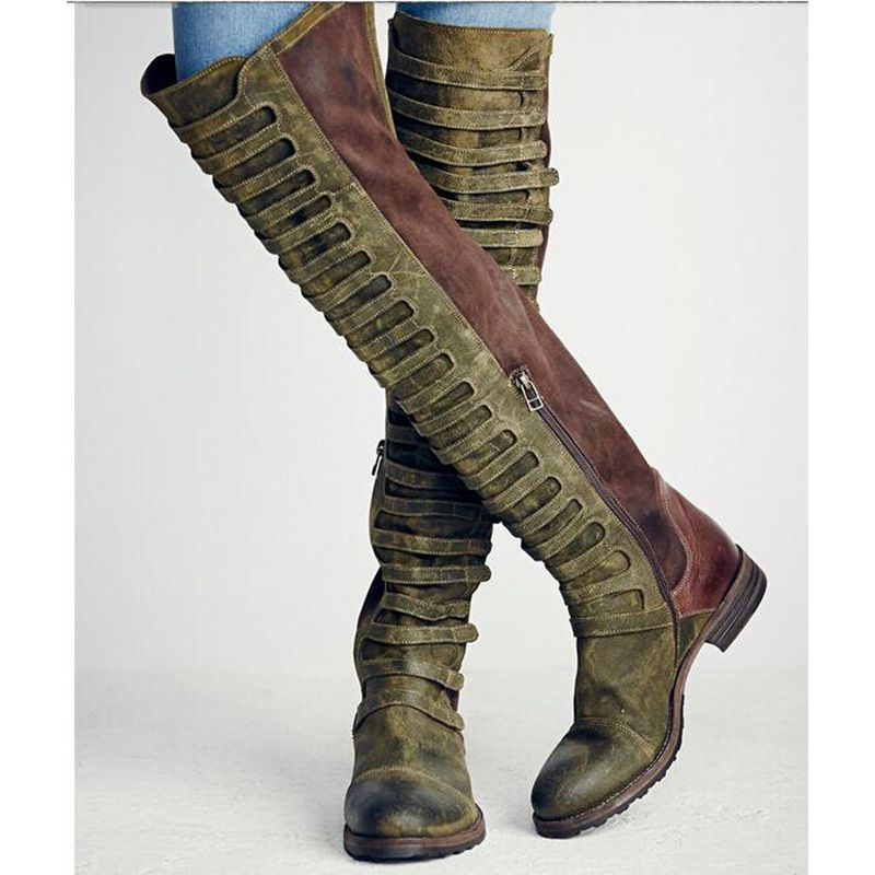 Womens Shoes Med Heel Gladiator Faux Leather Pumps Over The Knee Boots Retro