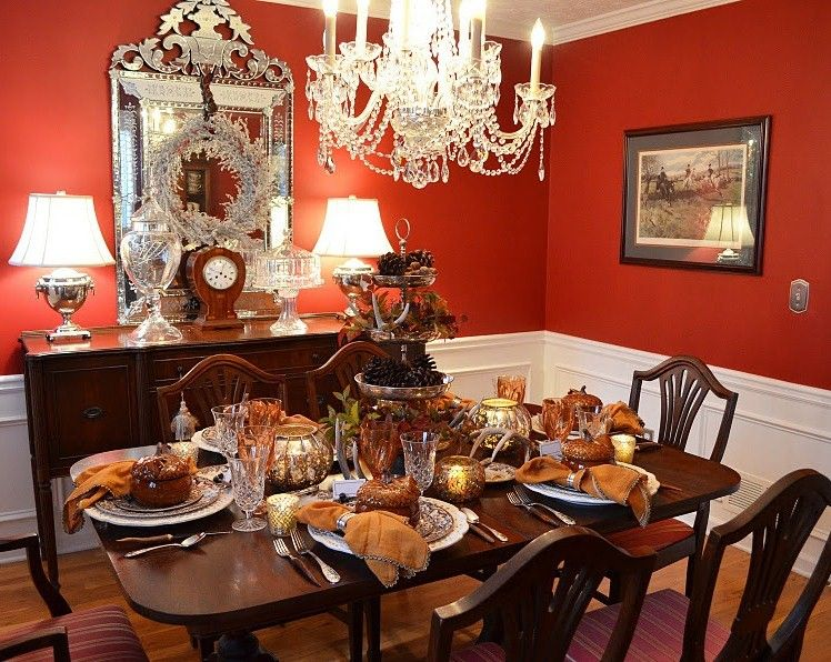 Beautiful Dining Room Ready For Thanksgivingred Walls Give Any Unique Dining Room Table Setting Ideas Inspiration