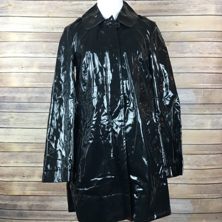 French Connection Black Vinyl Patent Trench Coat