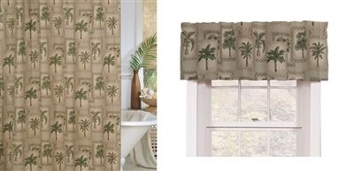 Palm Grove Tropical Shower Curtain And Matching Window Valance