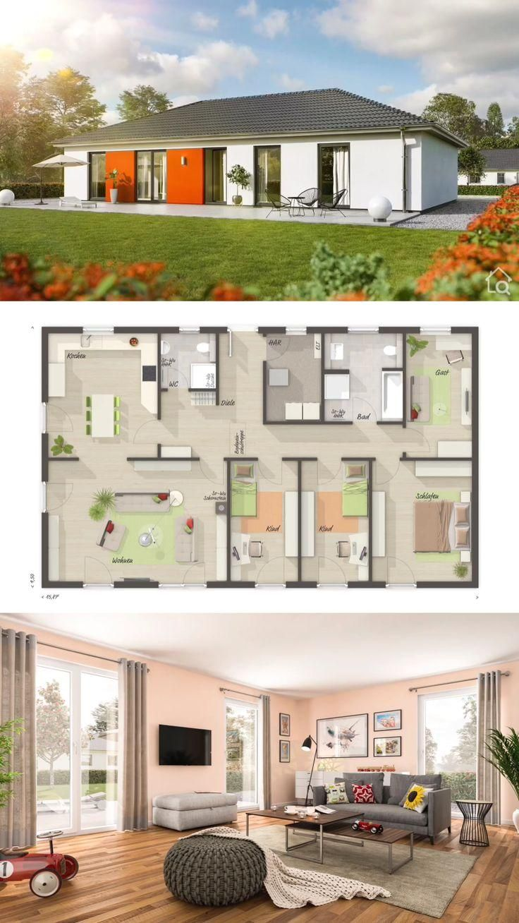 #home  #house  #houseplan  #houseplans  #homesweethome  #dreamhome  #newhome  #newhouse  #homedesign  #houseideas  #housegoals  #architecture  #architect  #arquitectura  #hausbaudirekt #House #Plans One Floor House Plans Bungalow with 4 Bedroom Modern Contemporary European Style - Architecture Design BUNGALOW 131 - Dream Home Ideas Layout by Town & Country Haus - Inspiration Blueprint Drawing and Interior with Kitchen Living Room Bathroom 4 Bedroom and Garden Exterior - Arquitectura moderna