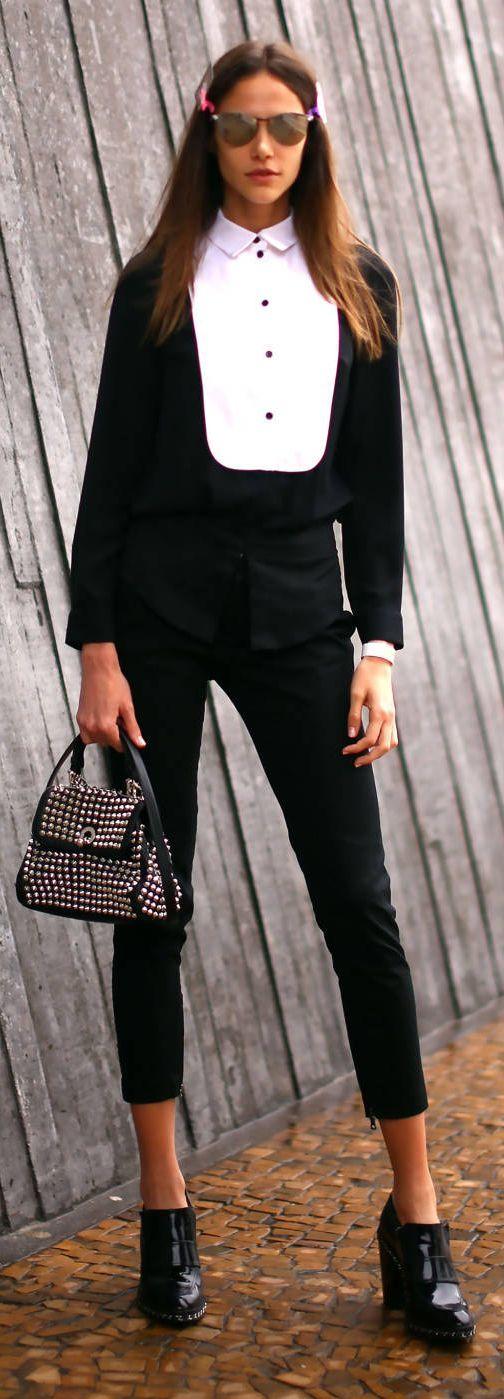 Black And White Tux Jumpsuit