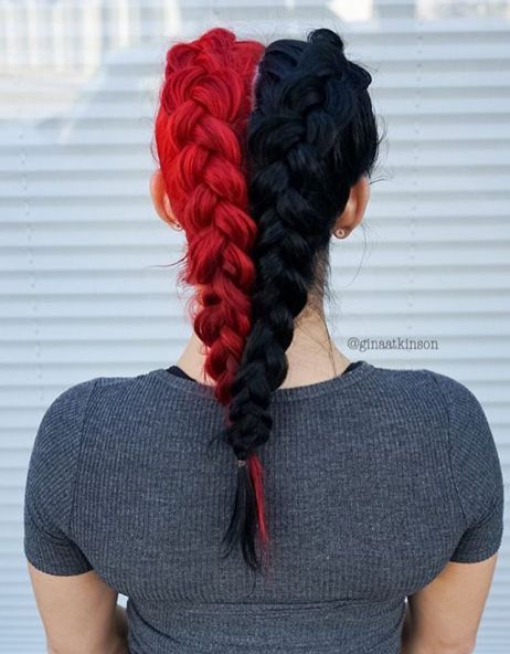 20 Bright Red Hairstyles That Sizzle Split Dyed Hair Hair Styles Half Colored Hair