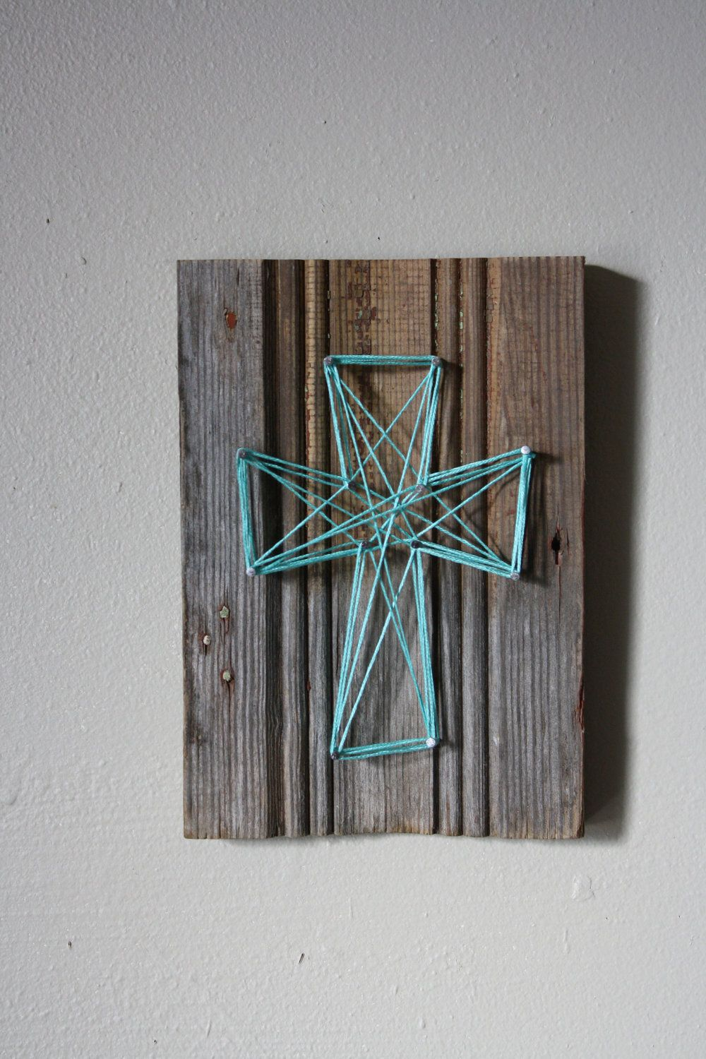 Reclaimed wood trim with string art cross wall decor projects to