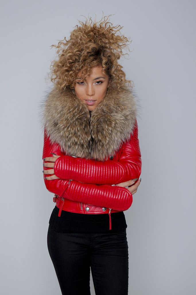 Red Fur Collar Leather Jacket – KarensClosetNY #redleather ...
