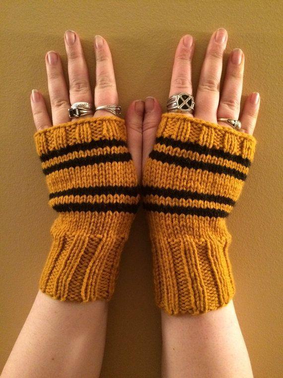 Hufflepuff House Fandom inspired Fingerless Gloves