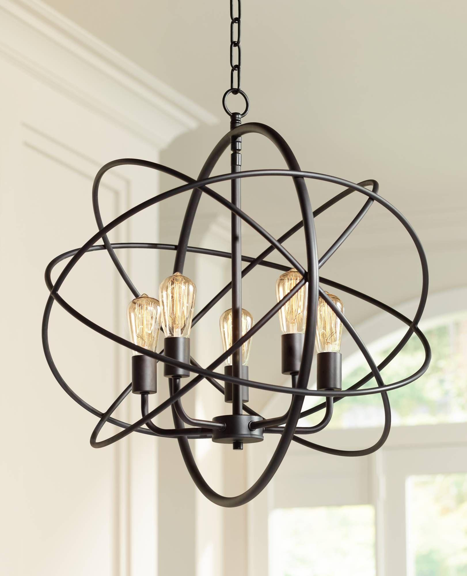 Ellery 24 3 4 Wide 5 Light Bronze Sphere Foyer Pendant 8g444 Lamps Plus