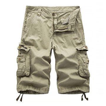 Summer Mens Cargo Shorts Casual Loose Pants Trouser Cotton Beach Multi Pockets