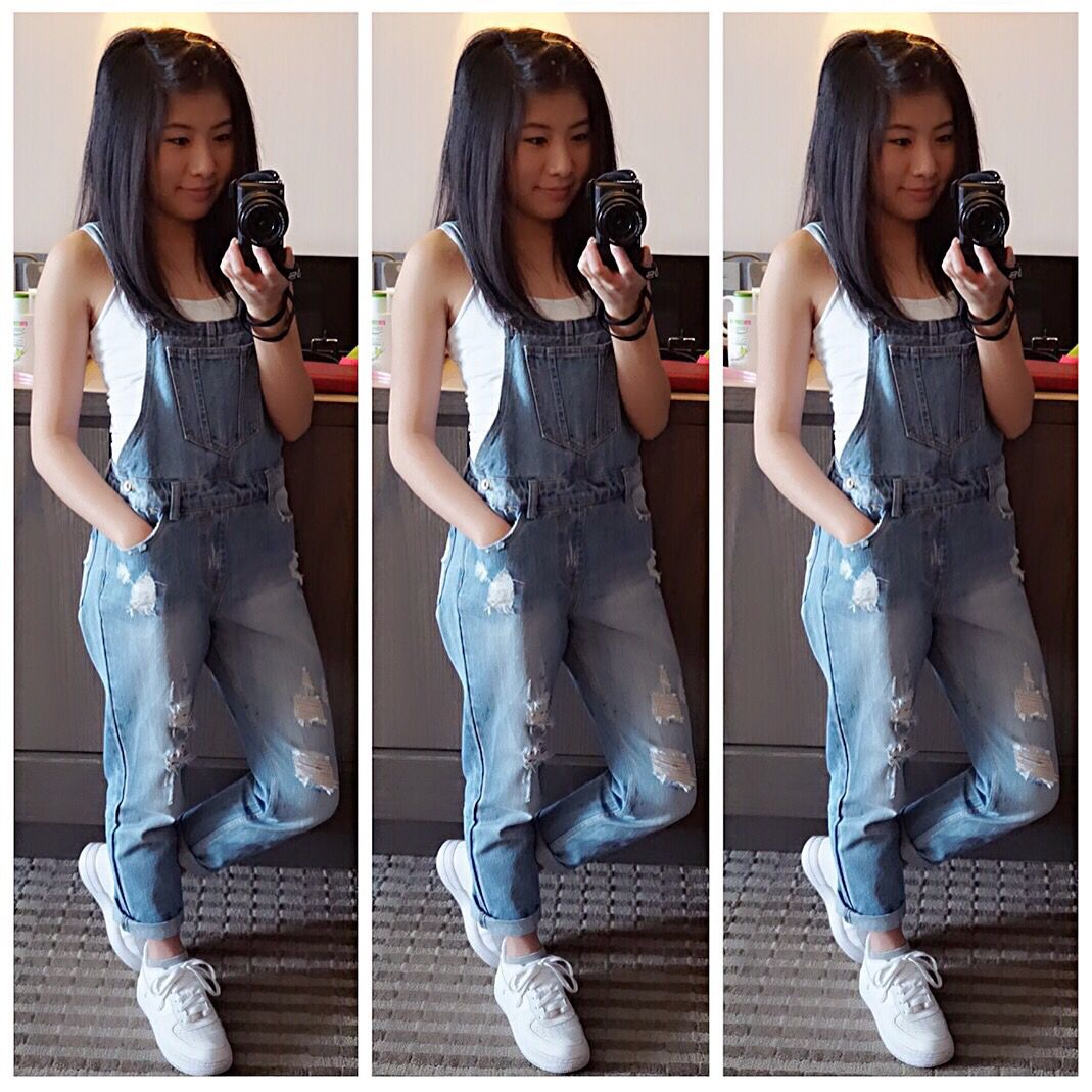 Dungarees, denim, Air Force 1, tank, trainers, Nike, 6ixty 8ight