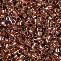 Miyuki 11/0 (1.6mm) Delica Copper-Plated glass cylinder beads, colour number DB 40.  These are a beautiful luxury bead, plated with real copper.  UK seller.
