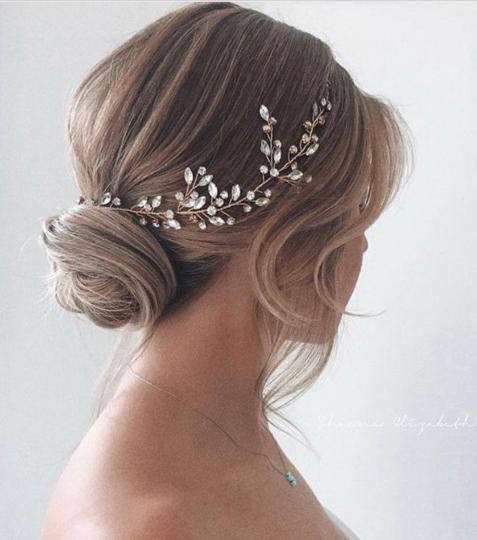 Rose Gold Swarovski Crystal Hair Vine Bridal Hairpiece