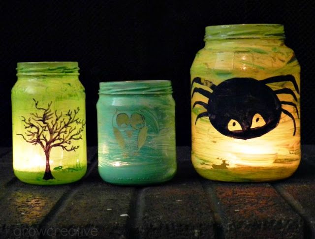 Painted Halloween Jar Lanterns Crafts Pinterest Jar lanterns - halloween jar ideas
