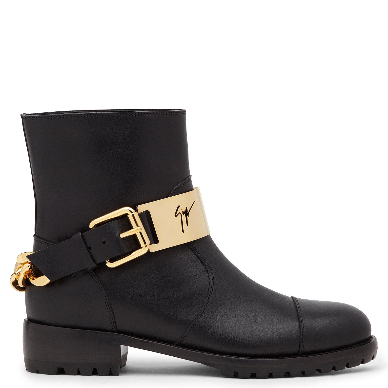 While the shape is traditional, the accessories demonstrate an attitude that's anything but: with gold-plated metal bars at each bridge, these black leather boots offer something original. The gripped rubber soles finish off a commanding design.