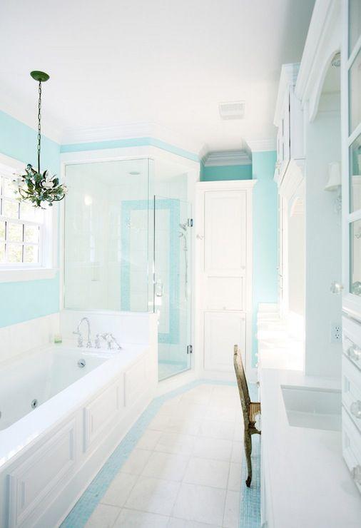 Pin By Kim Wood On Dream Home Blue Bathroom Decor Tiffany Blue Bathrooms Turquoise Bathroom