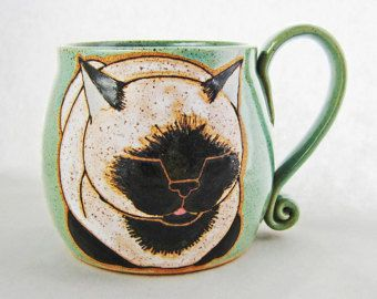 Cat Mug, pottery mug, great Birthday gift, cat loaf mug, handmade gift, custom name mugs, personalized mug, name mug, personalized gift,