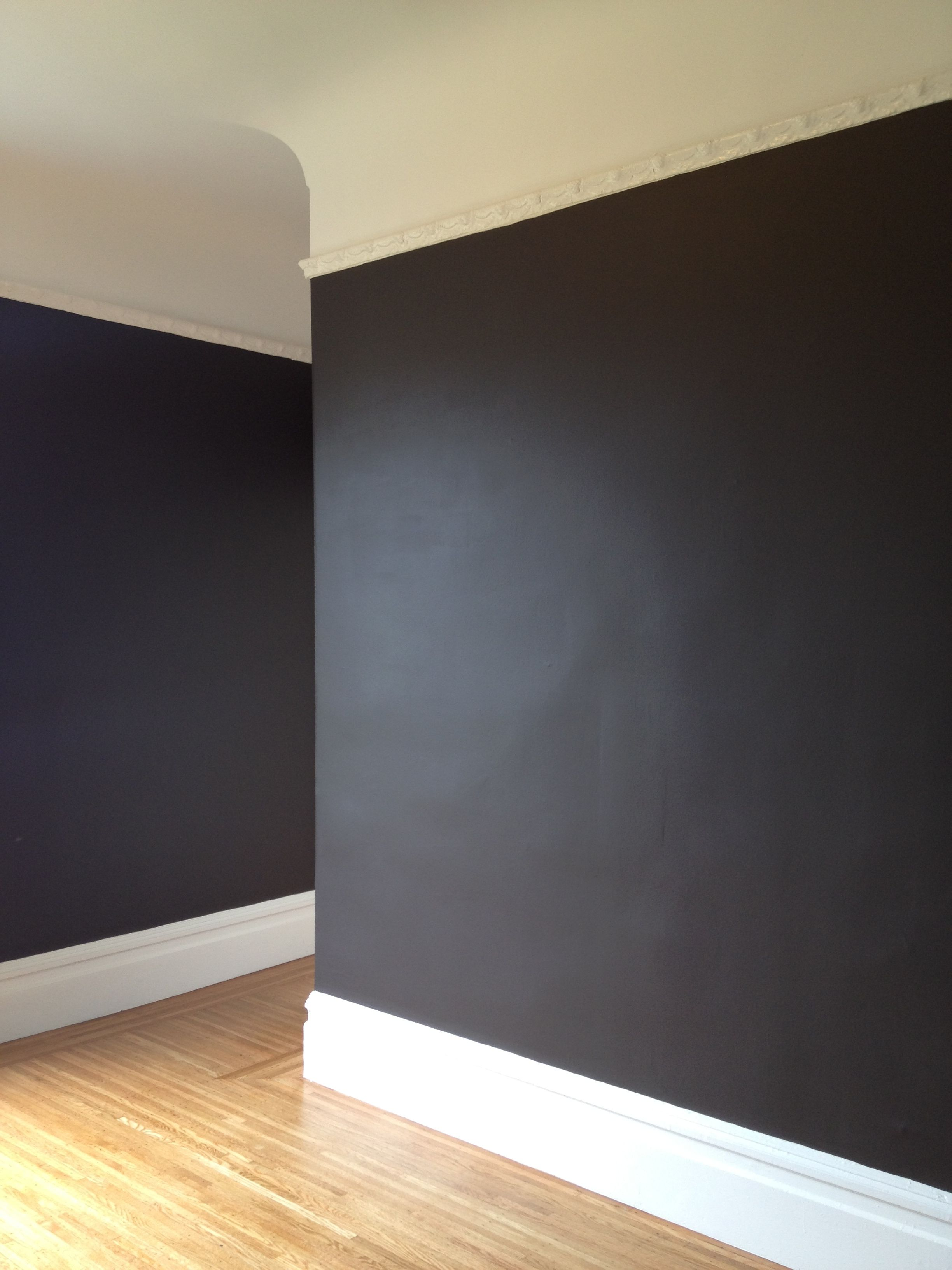 Behr Dark Cavern In Flat Black Painted Walls Black Accent Walls Charcoal Walls