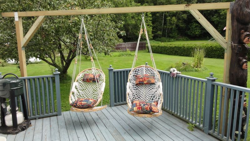a minor miracle has happened at the old homestead here u2013we finally hung up our very own cobble mountain hammock chairs  my wife has been a cobble mountain  u2026 hammock chairs and totem poles   just thinkin u0027   patio inspiration      rh   pinterest