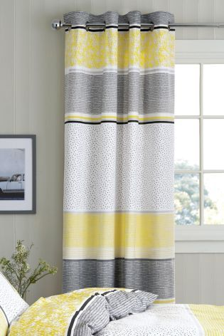 Hadley Stripe Blackout Lined Eyelet Curtains Curtains Yellow