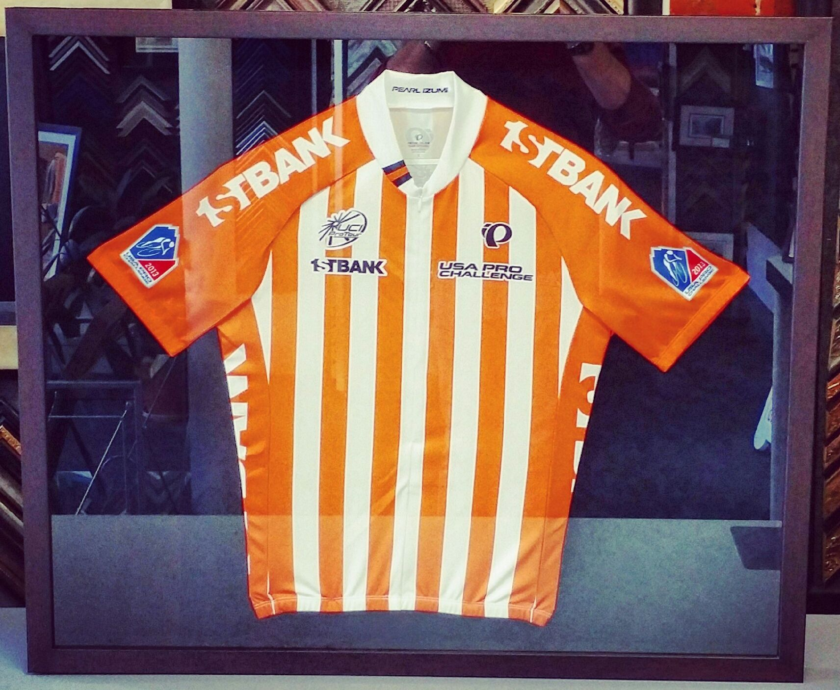 This beautiful cycling jersey was framed using @Roma Moulding\'s ...