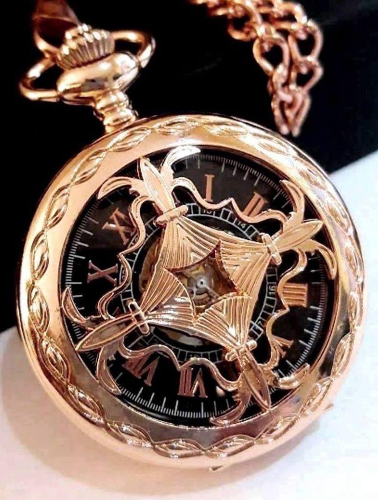 87cd65a31 Copper Rose Gold Pocket Watch Black Dial Rose Gold Numerals Celtic ...