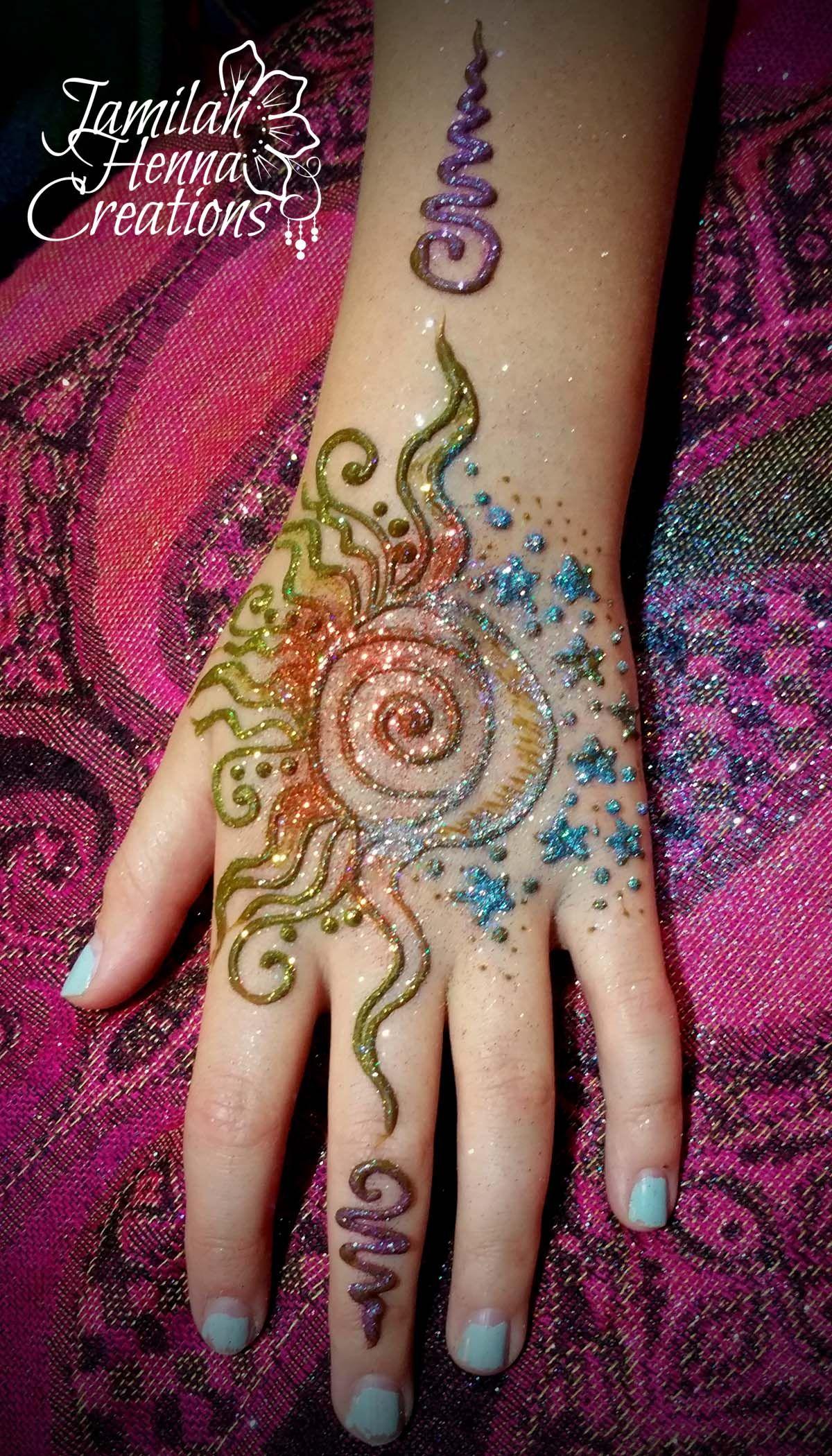 Sun Moon Glitter Henna Www Jamilahhennacreations Com Henna Henna
