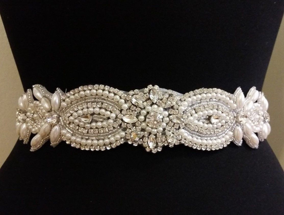 ShinyBeauty Elegant Sparkly Women Satin Bridal Sash Wedding Dress Belt with Rhinestone Wedding Sash RA242 ** Click image for more details.