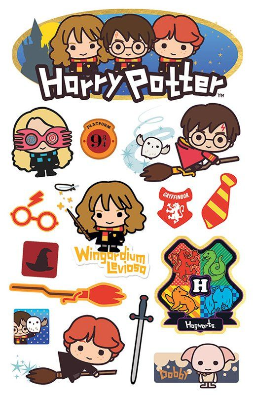 Cast your magical spells when you're creating with the Harry Potter Chibi with Foil and Glitter Accents Stickers by Paper House Productions. The package includes 15 assorted 3D layered cardstock stickers with images of Harry, Dobby, and more. The stickers come on a 4.5