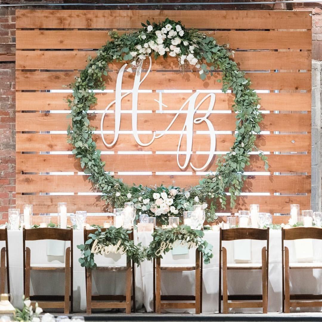 We Can T Get Enough Of This Beautiful Floral Wreath And Custom Wedding Monogram Alabama Wedd Custom Wedding Monogram Wedding Wall Decorations Custom Wedding
