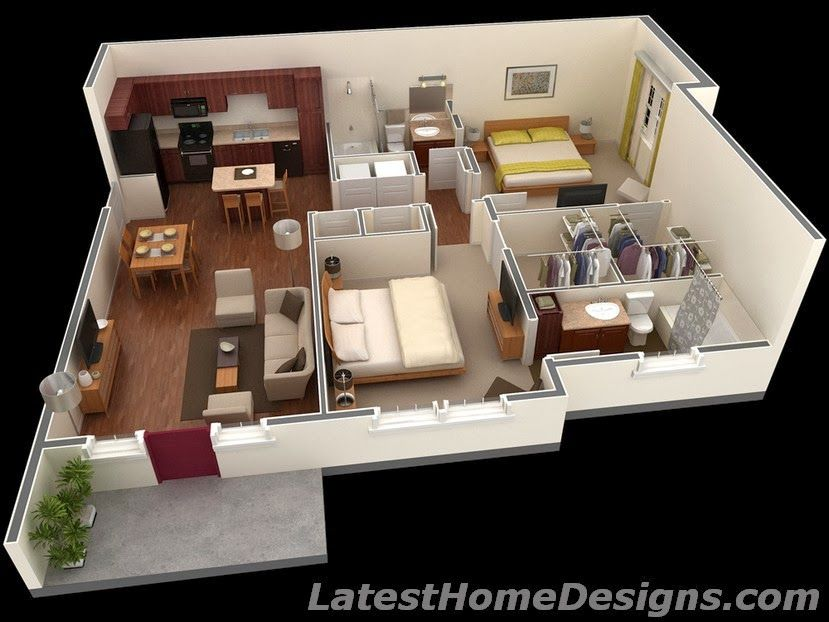 House Plans Under 1000 Square Feet, 1000 Square Feet 3D 2BHK House ...