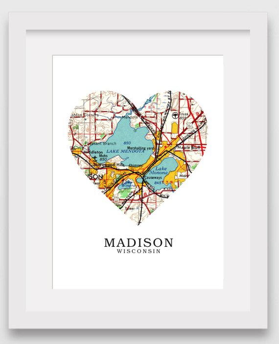 Madison Wisconsin Map Heart Print, Madison Map Art, Madison Map ...