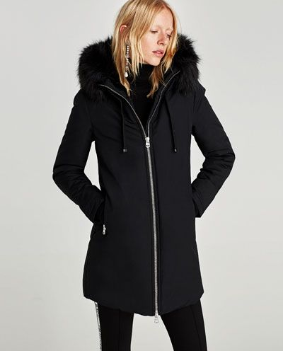 parka water repellent capucha parkas abrigos mujer zara. Black Bedroom Furniture Sets. Home Design Ideas