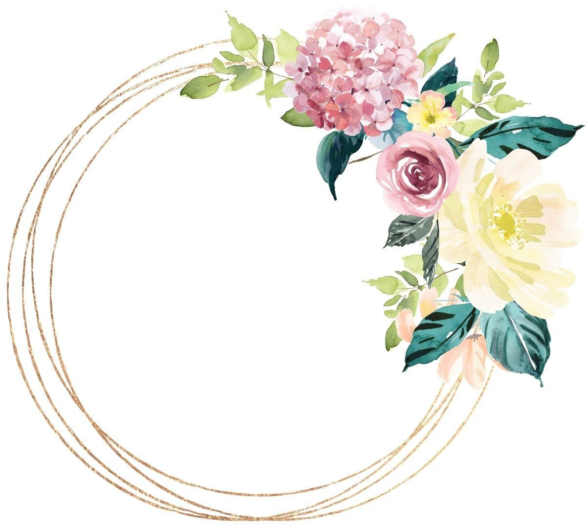 Pin By Htoon On ثيمات كيوت Flower Frame Painting Wallpaper Wreath Watercolor