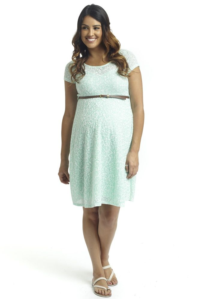f8d010b1e7 A gorgeous floral textured lace maternity dress for a special occasion  these warm months. Mint-Green-Floral-Textured-Lace-Belted-Maternity-Dress