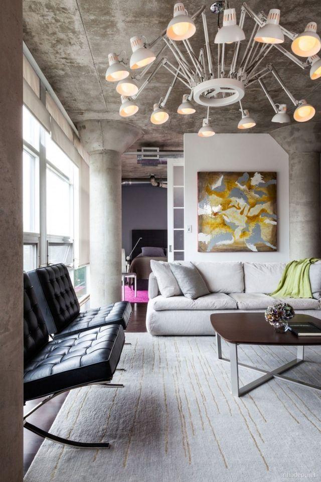 Attraktiv Loft Wohnung Wohnzimmer Decke Säulen Sichtbeton Kronleuchter | Loft In 2018  | Pinterest | Wohnzimmer, Einrichtung Und Loft Wohnung
