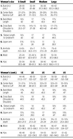 Woman Size Charts From Xs To 5x Site Also Has Measuements For