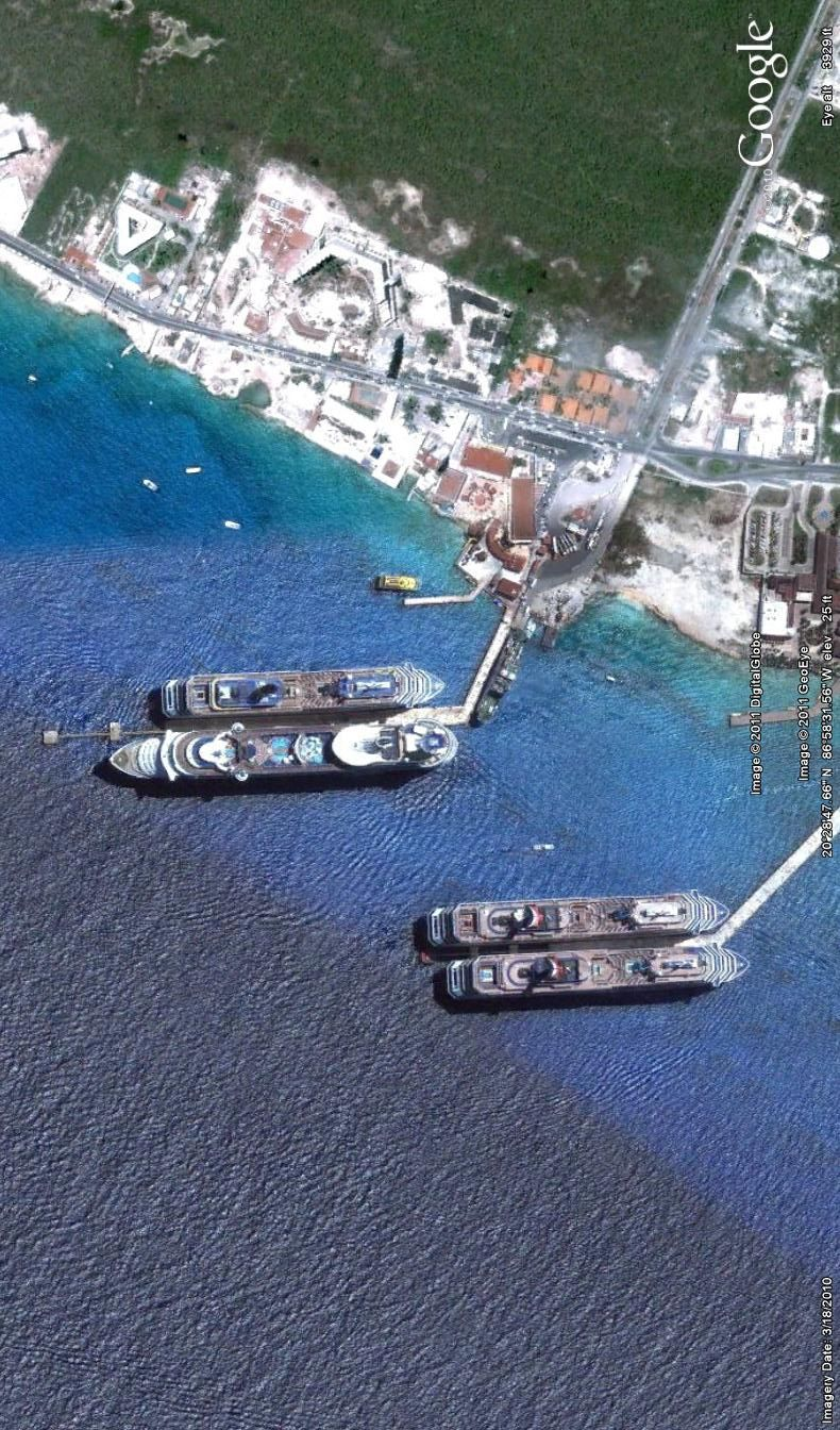 Cruise Ships Docked In Cozumel Image From Google Earth - Cruise ship google earth