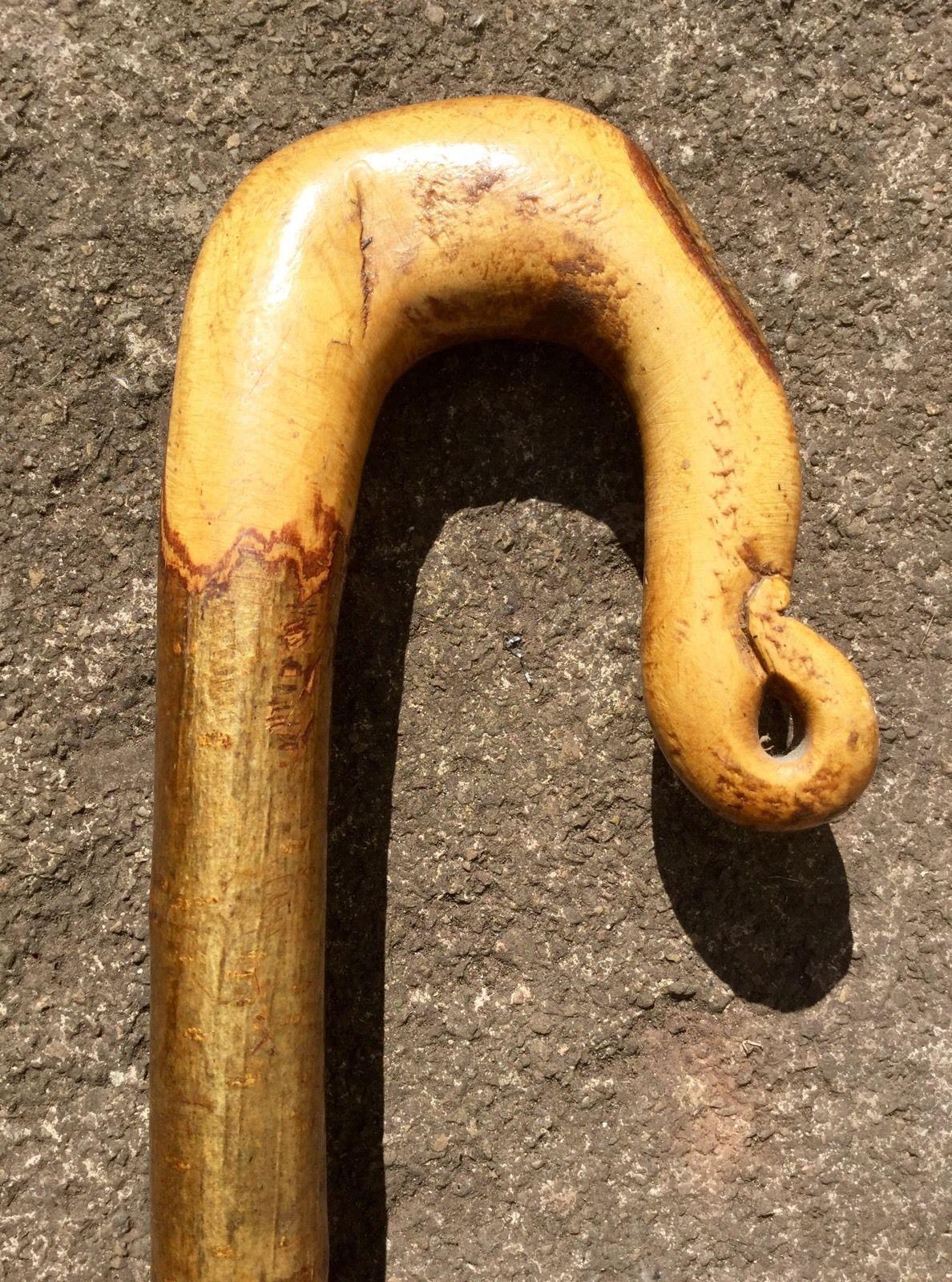 Hazel Wood Shepherds Crook Walking Stick Metal Tip Rustic Country Field Sport 4