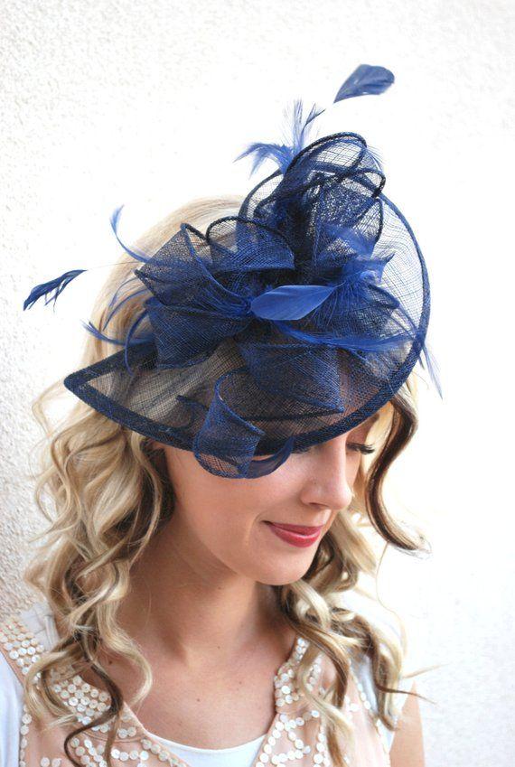 Le bibi de bleu marine Isabelle, Tea Party chapeau femme