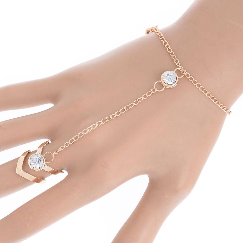 fashion glitter rhinestone hand bracelet slave chain link finger