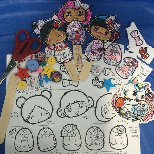 お疲れ〜!! #KAWAIIindaHood at Wellness Day (Day one) with mix n' match creative kokeshi art was a success!  Kids loved it, took some home, and even stopped by to create during the after school event. I'm so happy they were happy! That's what #kawaiiempowerment's all about (more pics in the coming days so be sure to follow @kawaiiindahood) ______________________________  #kawaiiindahood #kawaiiart #kawaiiempowerment #youthoutreach #kokeshi #artsandcrafts