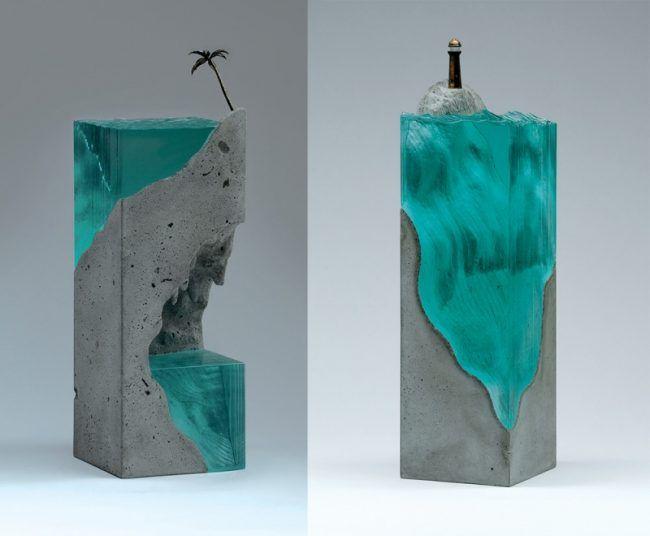 moderne skulpturen glas beton palme leuchtturm figur. Black Bedroom Furniture Sets. Home Design Ideas