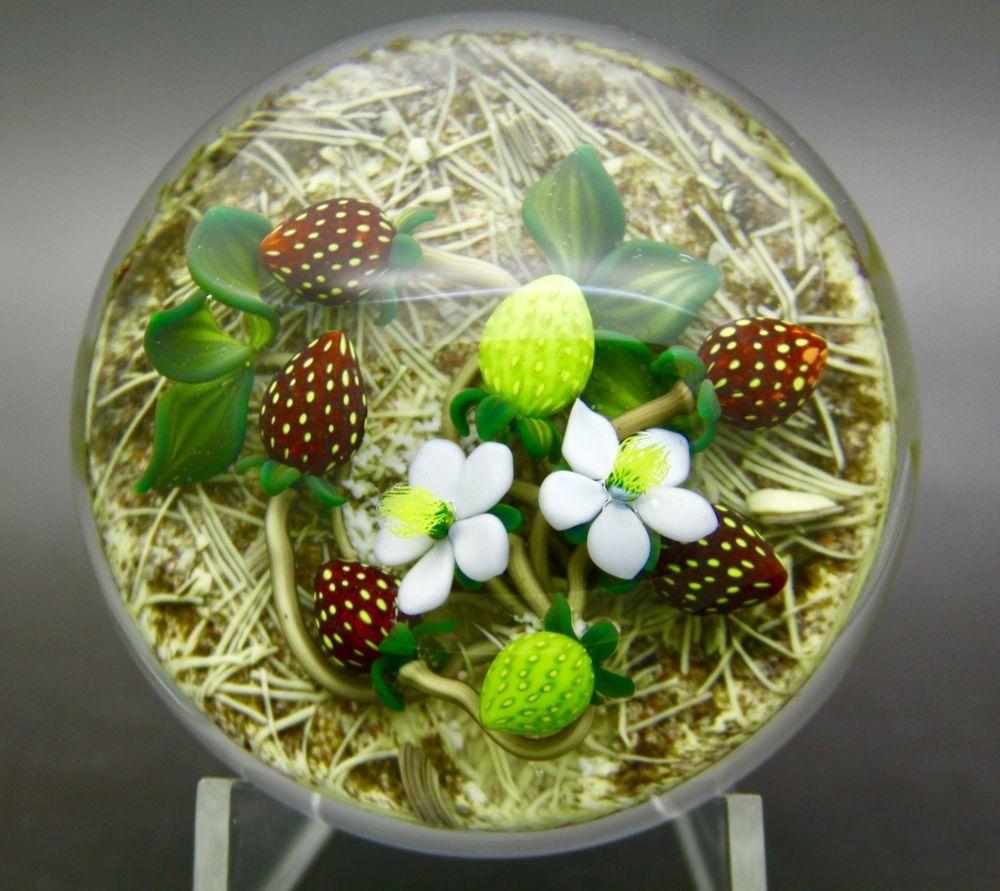 Gordon Smith Strawberries On Pine Needles Art Glass 1994 Paperweight Apr 3 Wx2 H Gordonsmith Glass Art Glass Paperweights Stained Glass Art