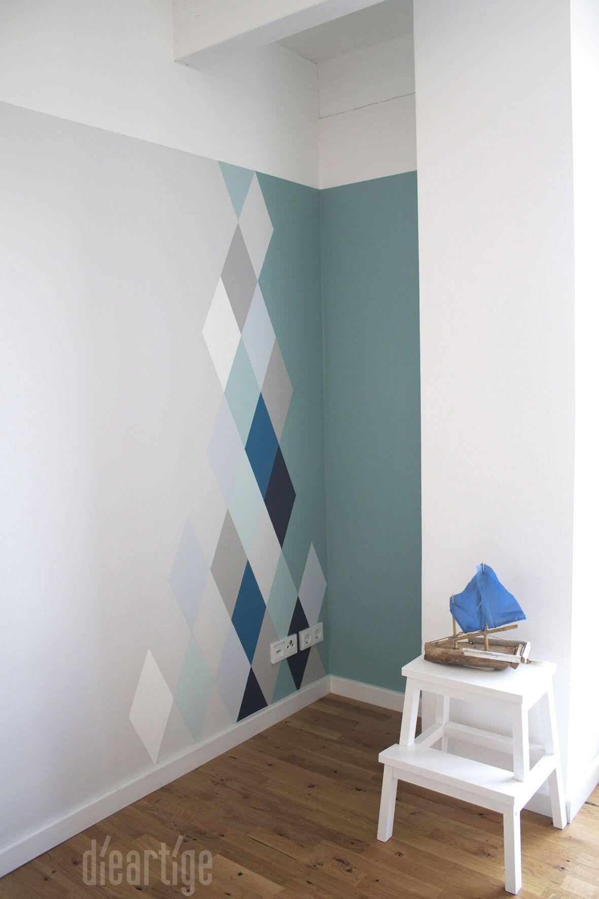 Muster Für Wände Streichen : dieartigeblog wandgestaltung rauten in blau und graut nen repinned f r gewinner jetzt ~ Indierocktalk.com Haus und Dekorationen